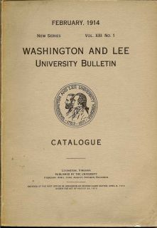 Washington And Lee Univesity Bulletin 1914