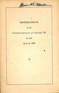 Memorandum In RE Constitutionality of Chapter 719 Of the Acts of 1939