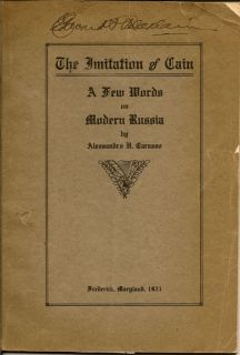 The Imitation of Cain A Few Words on Modern Russia. ALESSANDRO H. CARASSO