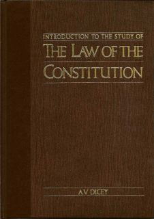 Introduction to the Study of The Law of the Constitution. A. V. DICEY