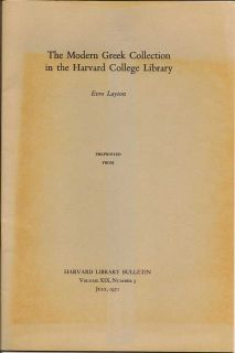 The Modern Greek Collection In The Harvard College Library. EVRO LAYTON.