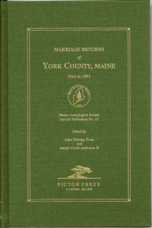 Marriage Returns of York County, Maine Prior to 1892. JOHN ELDRIDGE AND ANDERSON FROST, JOSEPH CROOK, II.