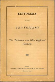 Editorials On The Centenary Of The Baltimore And Ohio Railroad Company