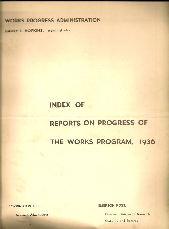 Index Of Reports On Progress Of The Works Program, 1936