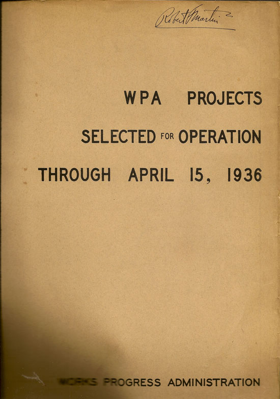 WPA Projects Selected For Operation Through April 15, 1936